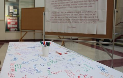 Administration moves former graffitied picnic table to Atrium to encourage positivity