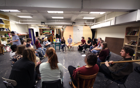 The cast of the States play, Wii Dig, meets for a script reading in the White Box. The play will be performed in the Roberts-Dubbs Auditorium on March 21-22. (Photo by Matthew Goroff)