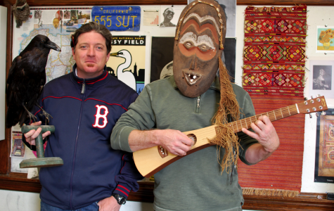 Social studies teachers Mark Wheeler (left) and Robert Grant (right) cover their classroom's walls with an eclectic collection of their keepsakes, trinkets and memories.