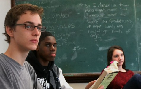 SWS students read papers aloud in class (November 2012). Photo by Jackie Merrill.