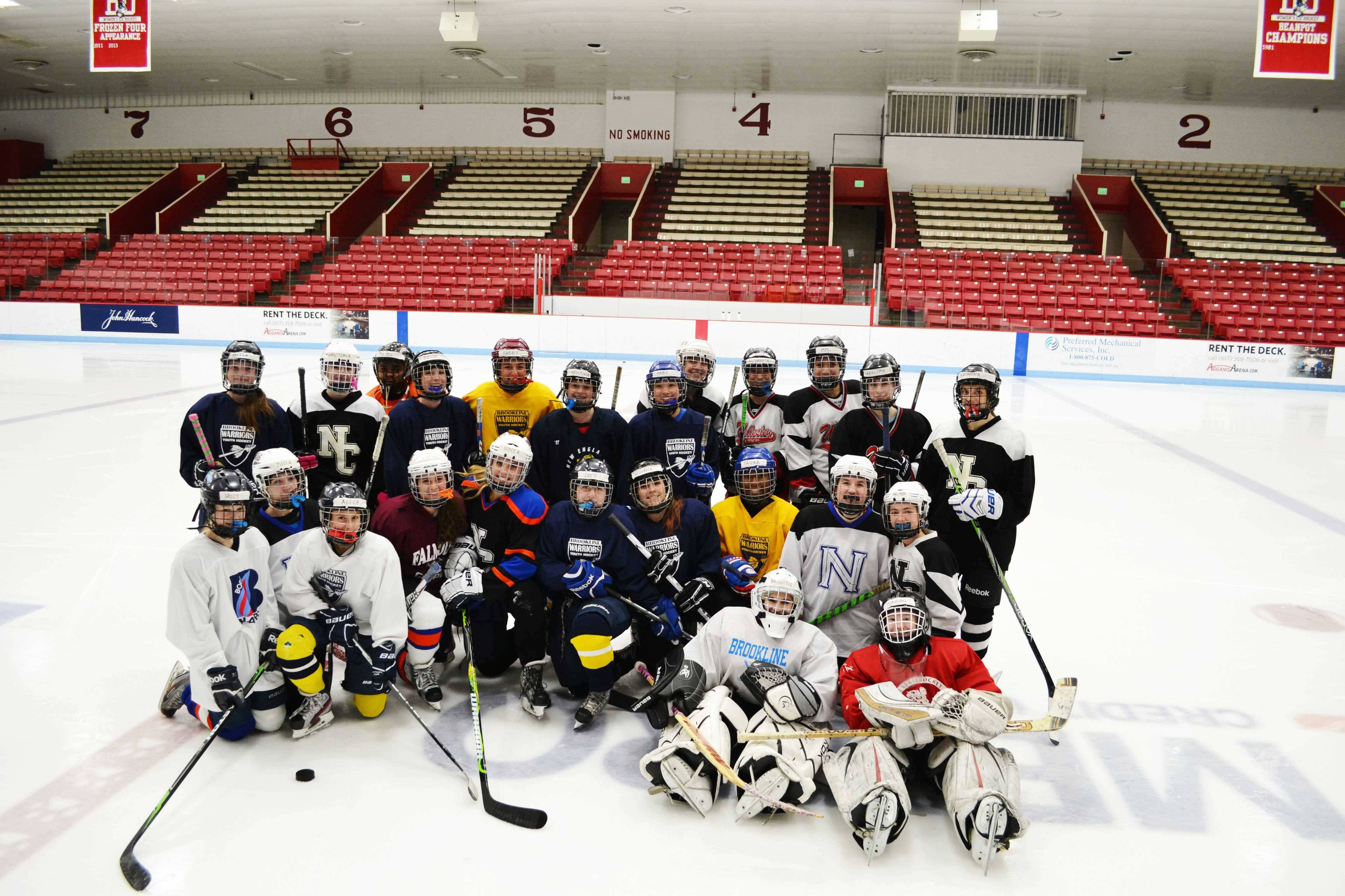 Brookline and Newton South united to create a joint girls ice hockey team. Photo by Caroline Fishkin.