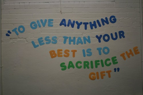 A quote hangs on the wall of the EDCO-Manville Partners Program. The little-known program, which was established at the high school eight years ago, teaches life skills along with the core academic curriculum to students with social challenges. Photo by Kendall McGowan.