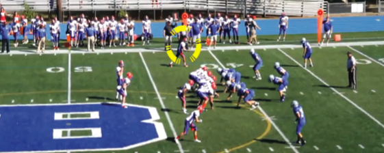 Senior Dashawn Richardson (circled) said he made a video in order to promote his football capablities to college recruiters. Screenshot by Emma Nash.