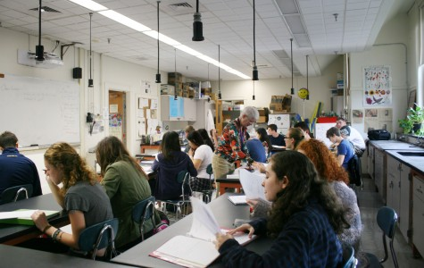 A large sophomore chemistry class. Students may not be heard or get as much individual attention in larger classes. Photo by Grace Meyer