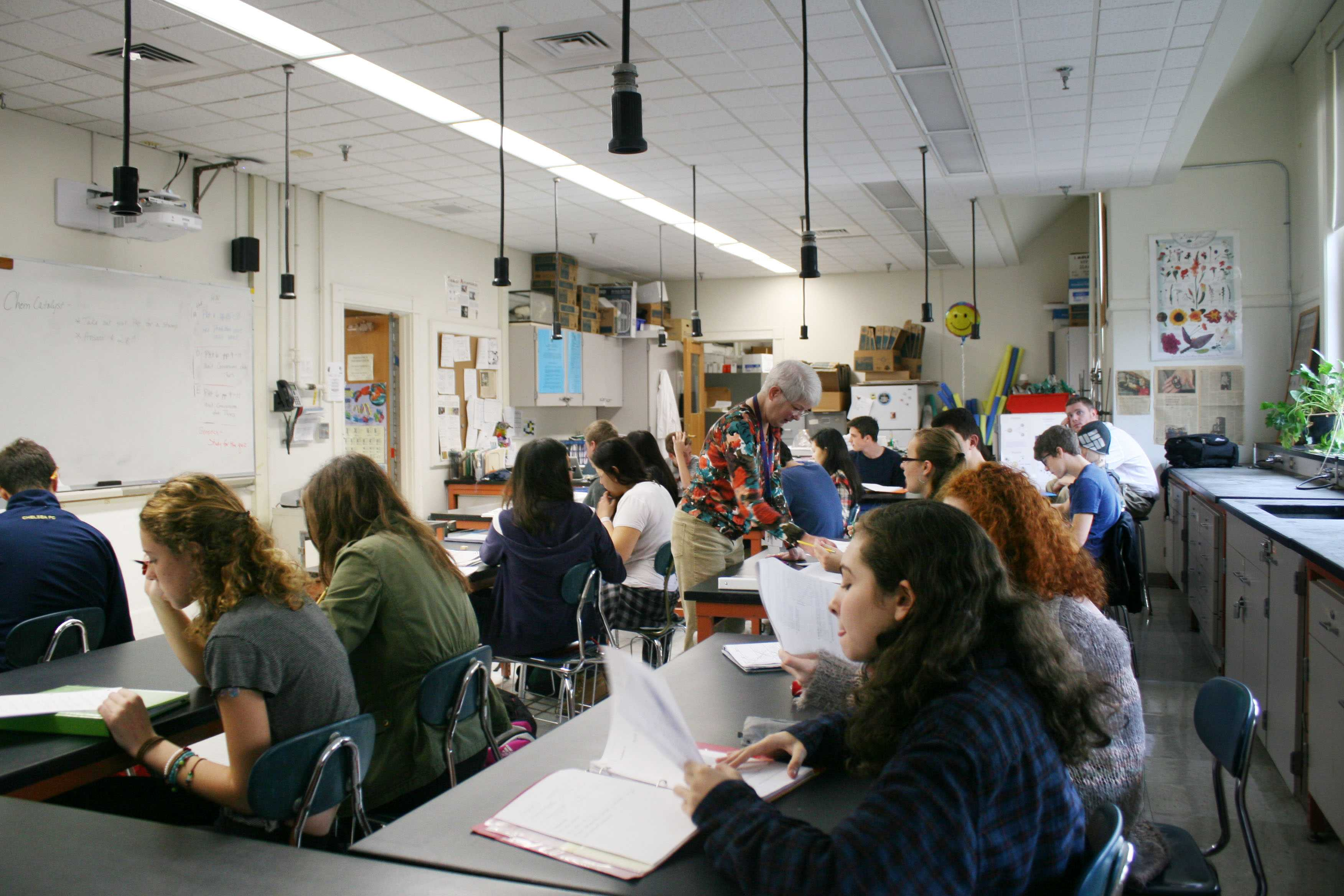 A large sophomore chemistry class. Students may not be heard or get as much individual attention in larger classes.