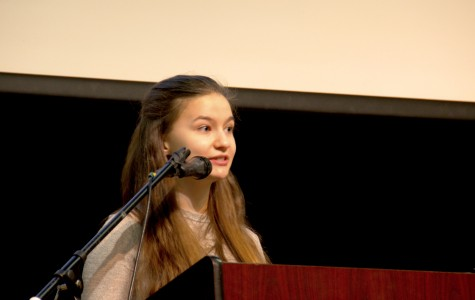 Senior Mattie O'kelley-Bansberg speaks at the Race Day assembly 'Tell Your Story'.
