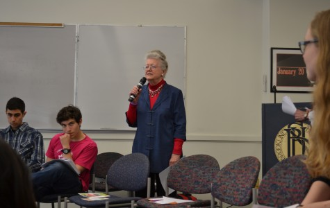 Feminist and anti-racism activist Peggy McIntosh visits the high school