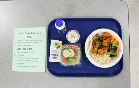 A meal from the cafeteria, consisting of one main dish, two sides and a drink. Some students who qualify for free or reduced-price meals have struggled with the lack of clarity surrounding what components constitute a breakfast or lunch. Photo by Sofia Tong.