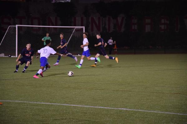 Sept 18, 2015 - Brookline Boys Varsity Soccer plays in a Friday Night Lights game at BU's Nickerson Field.