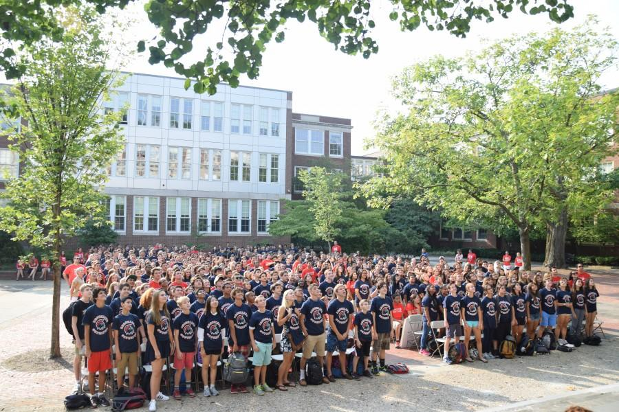 The Class of 2019 watches an orientation speaker on Freshman Day. PHOTO BY SAM KLEIN