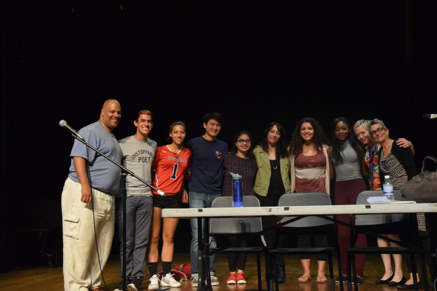 Senna poses with students and faculty following the T-block assembly. PHOTO BY SAM KLEIN