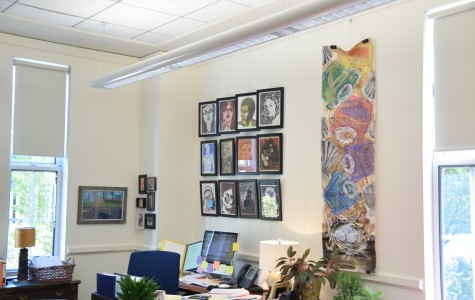 2015/09/24 - Brookline, MA - Brookline High School - Students' artwork from Newton North (left) and a drawing by senior Logan Roche (right) hang above Headmaster Deborah Holman's desk. Sam Klein/The Sagamore