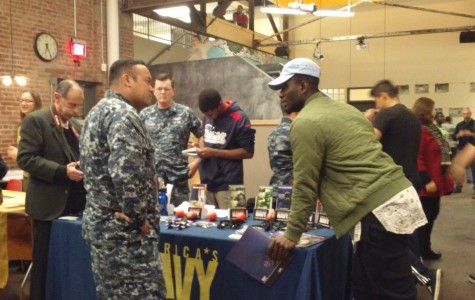 Members of the United State's Navy visit the Alternatives to College Fair as a post-high school option.