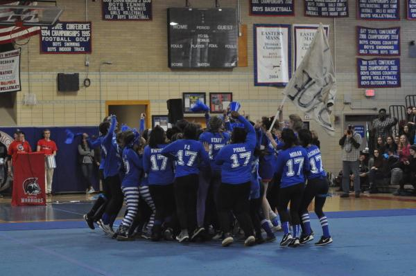 The junior powderpuff team gets amped up at the pep rally. Sam Klein / Sagamore staff