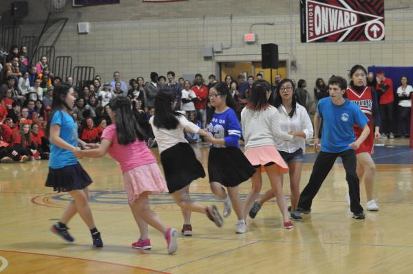 Popcorn dance performs at the pep rally. Sam Klein / Sagamore staff