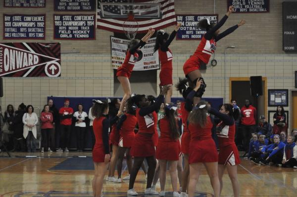 JV cheerleading performs at the pep rally. Sam Klein / Sagamore staff