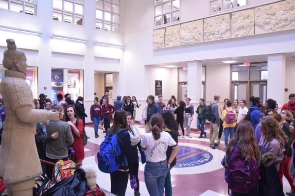 Students gathered in the atrium in solidarity with the students in the meeting. Photo by Sam Klein / Sagamore staff.