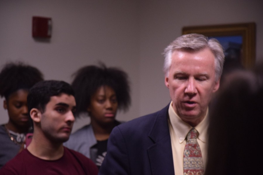 O'Leary speaks to protesting students in the Headmaster's suite after the meeting. Photo by Sam Klein / Sagamore staff.