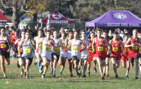 The boys cross-country team begins the 5000 meters at All-States. The team placed sixth overall at the meet. Provided by Charles Klein.