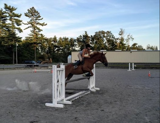 Emily Bivens rides in Lakeville, Massachusetts at Holloway Brook Farm at least four times a week.