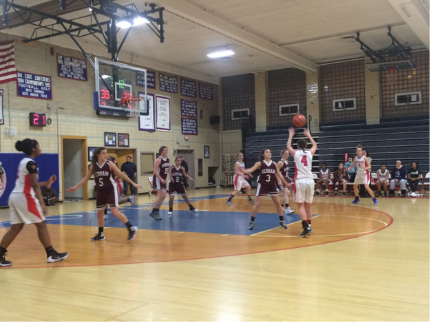 Photo by Sascha Wolf-Sorokin / Sagamore staff The girls basketball team played well in all aspects of the game and emerged victorious in a 60-34 victory over Dedham on Jan. 26.