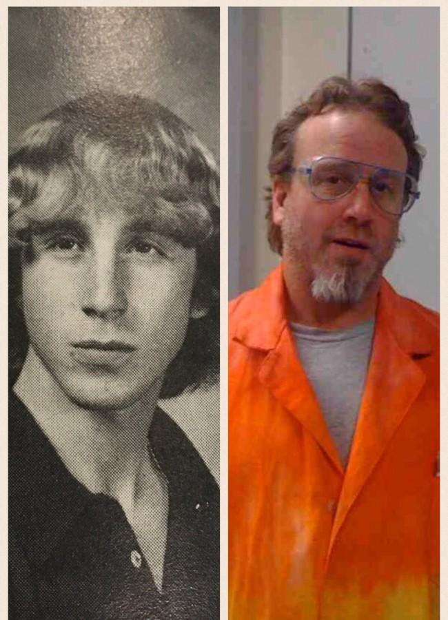 Alumnus science teacher Steve Lantos '80  as a student at the high school (left) and today (right).