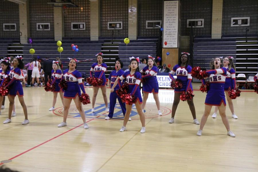 The Cheer Squad performed during a break in the action. Leon Yang / Sagamore Staff