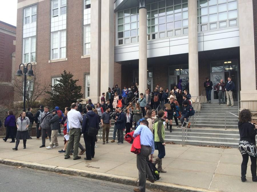 Teachers leave the high school building at 3 p.m. on Feb. 29. Leon Yang / Sagamore Staff