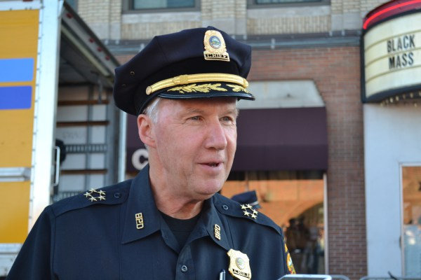 Police Chief Dan O'Leary standing outside the Coolidge Corner Theatre at an earlier event. Kendall McGowan/ Sagamore Staff