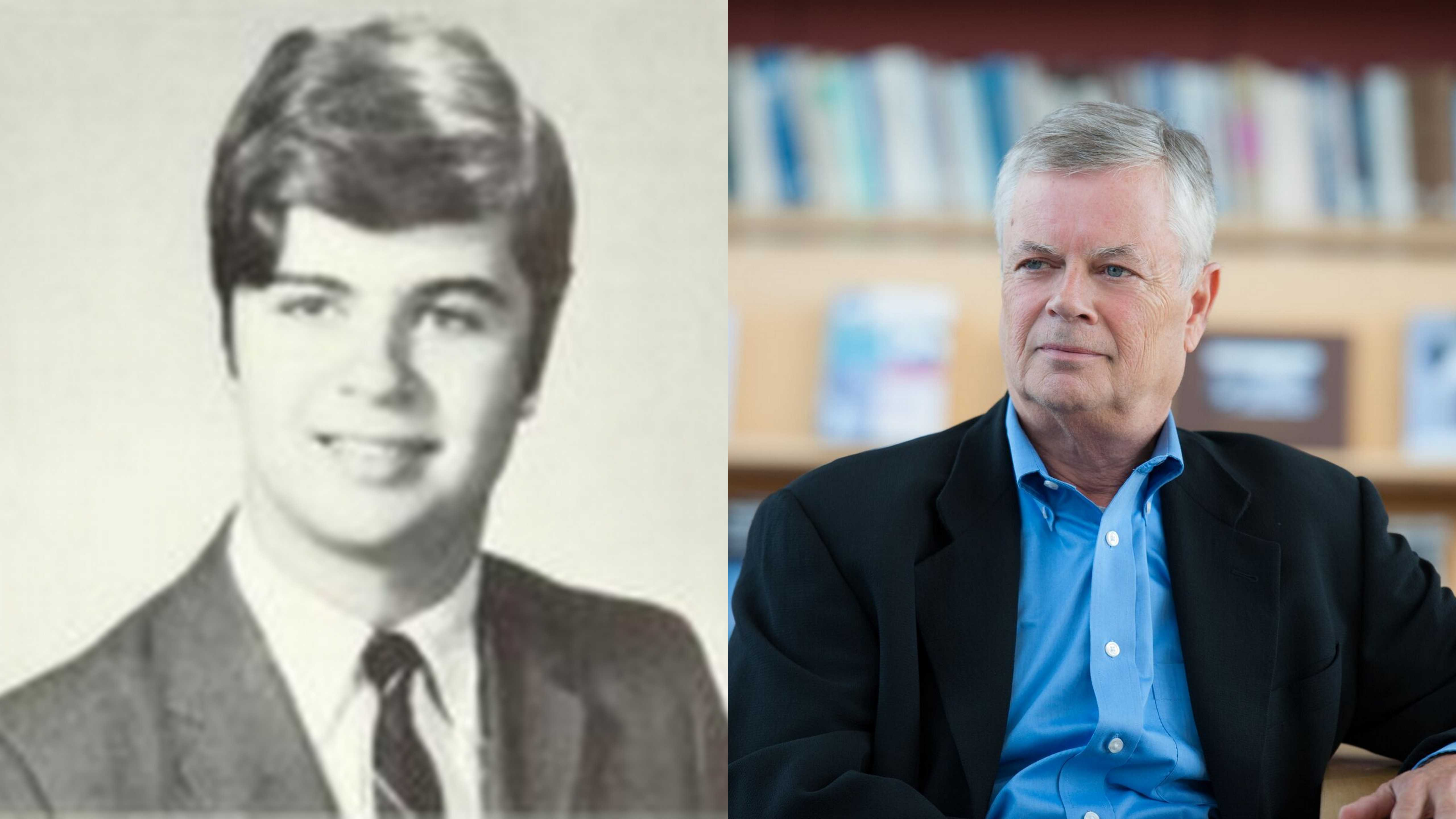 Stephen Kinzer '69 then and now. Photos from Murivian '69 (left) and provided by Megan Murphy (right).