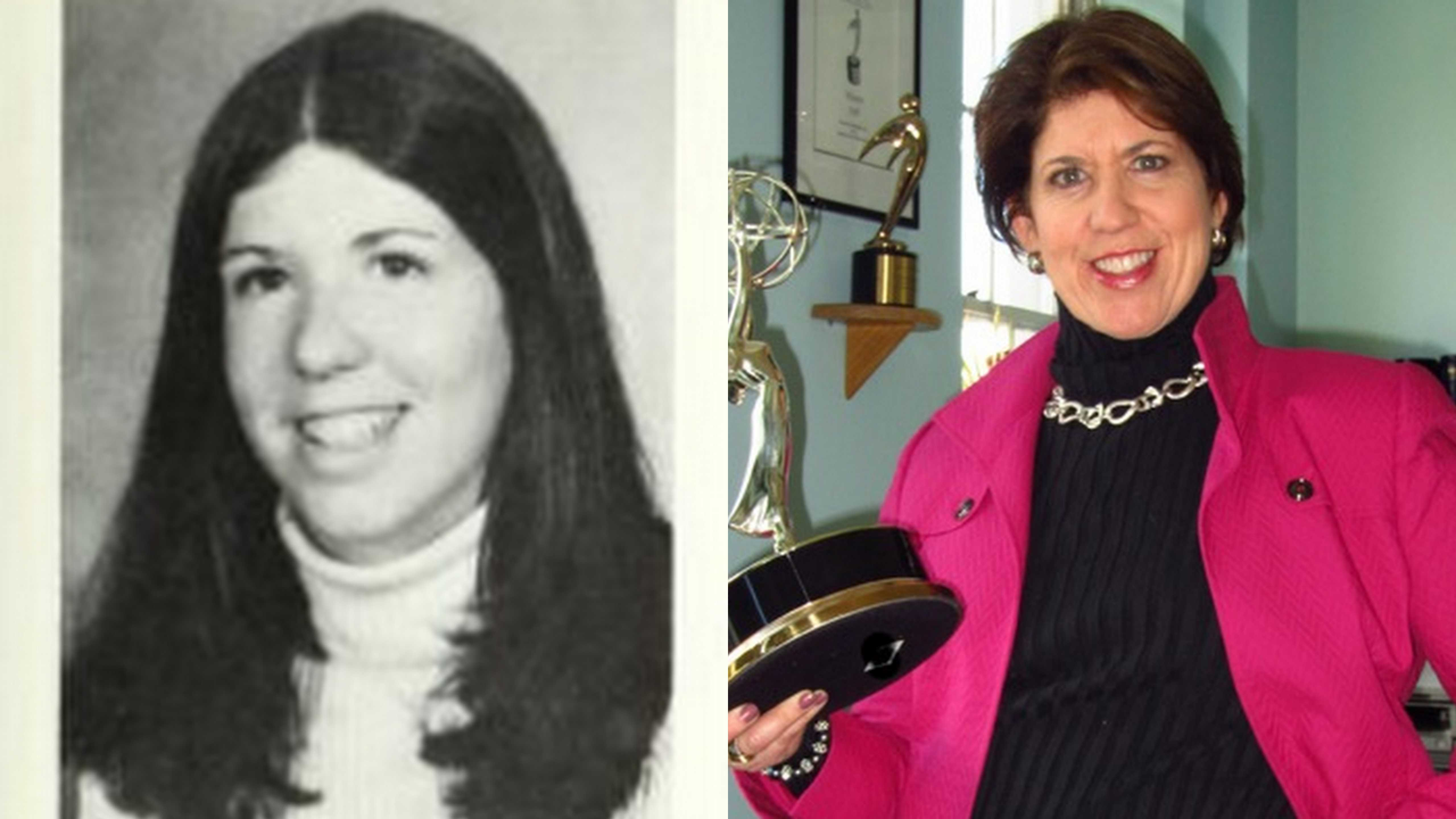 Heidi Berenson '75 then and now. Photos from Murivian '75 (left) and provided by Heidi Berenson (right).