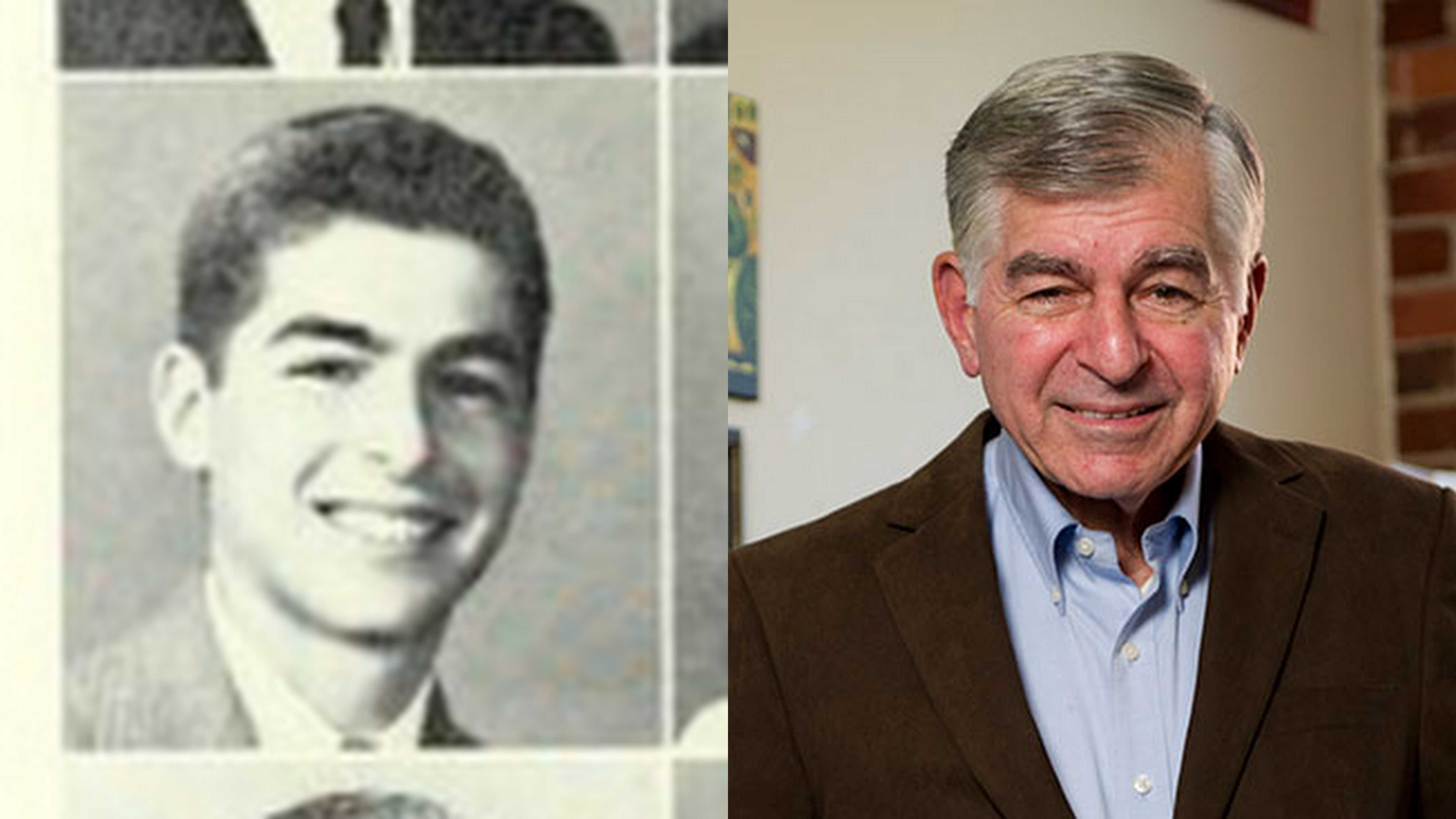 Michael Dukakis '51 then and now. Photos from Murivian '51 (left) and provided by Michael Dukakis (right).