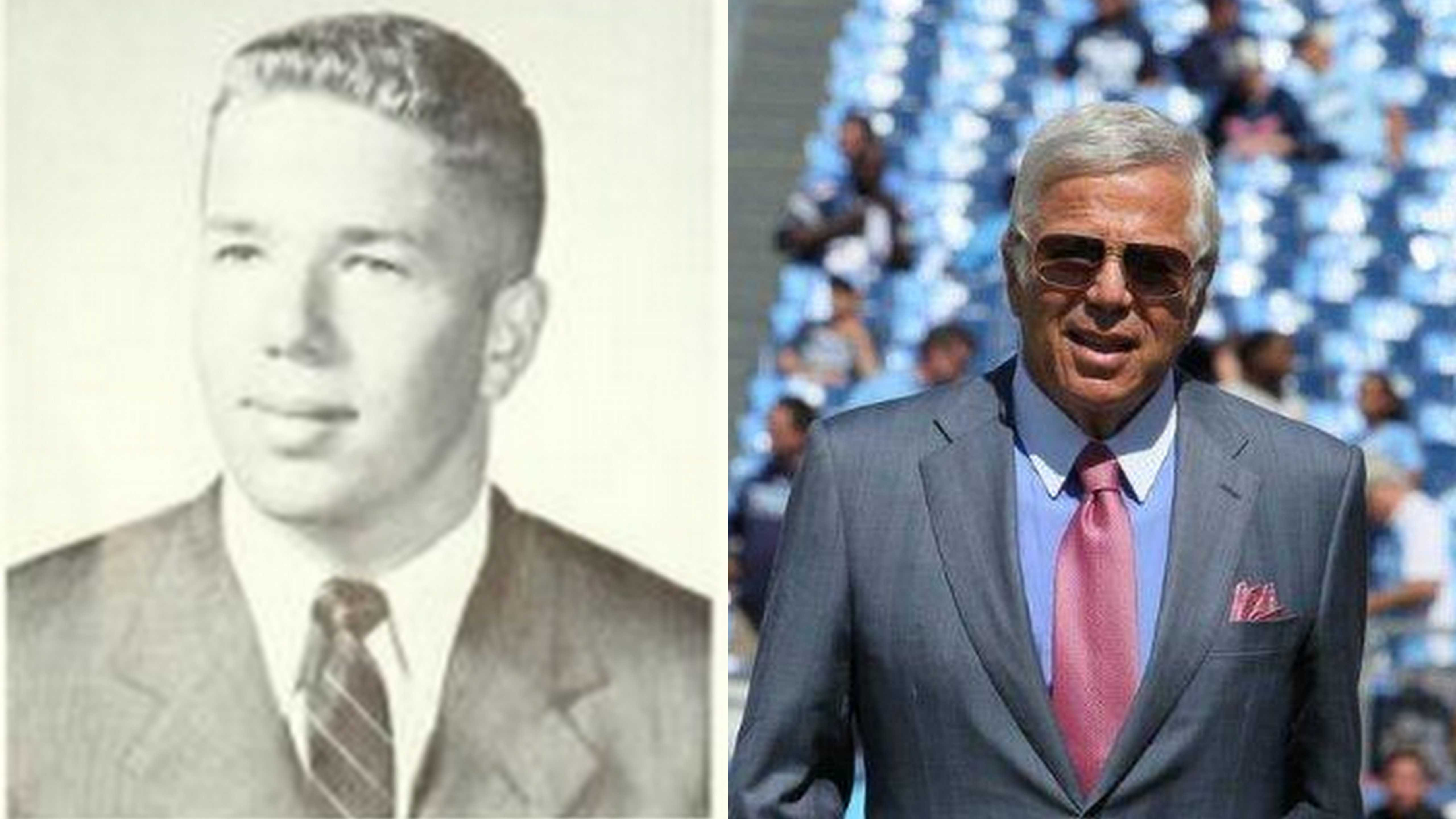 Robert Kraft '59 then and now. Photos from Murivian '59 (left) and provided by Jane Hoffmeister (right).