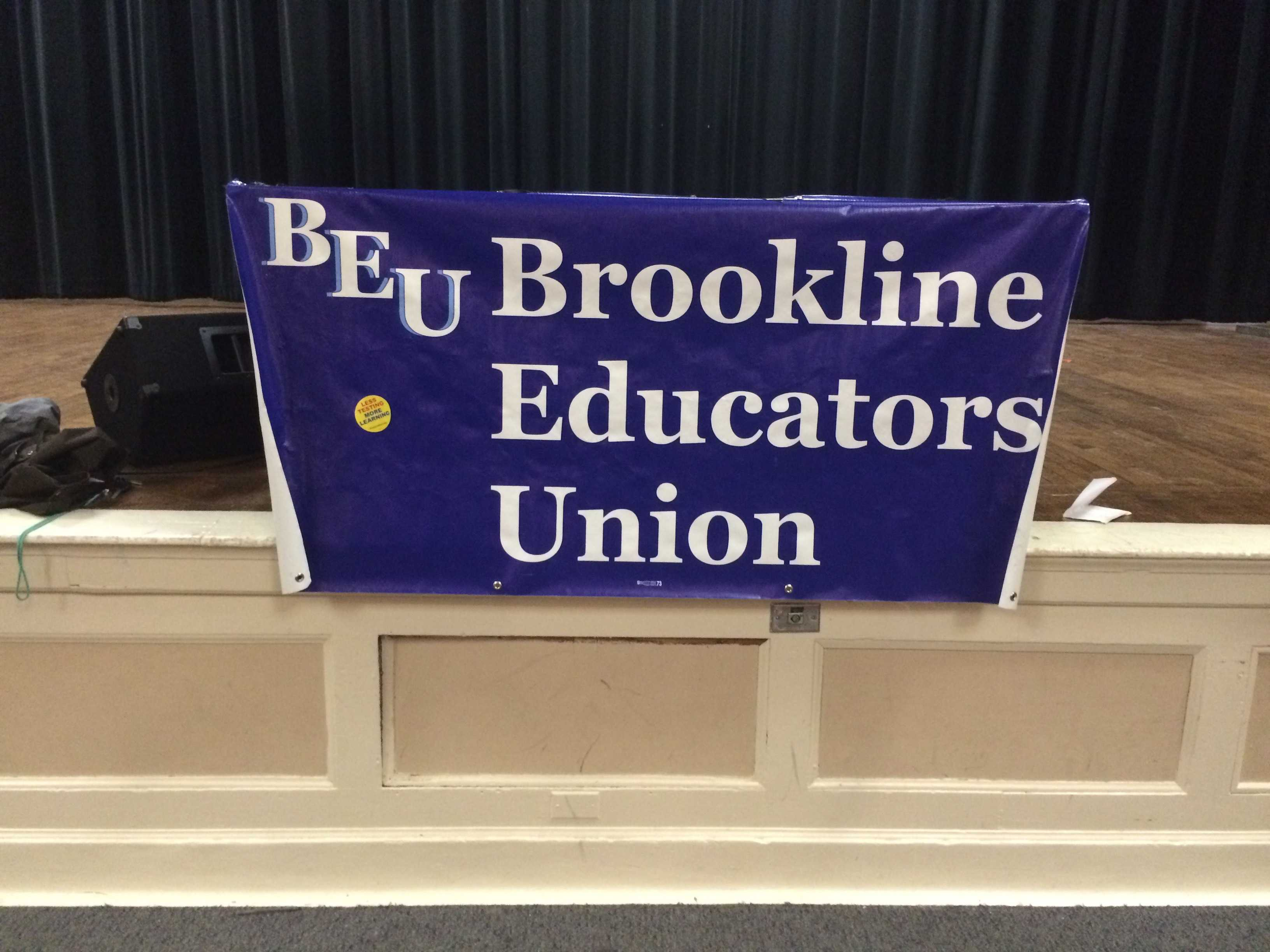 A banner of the BEU hangs in the Roberts-Dubbs Auditorium. Leon Yang / Sagamore Staff