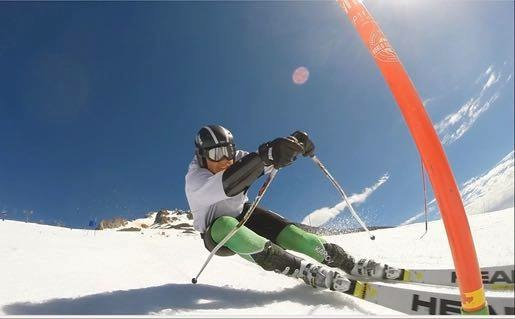 Senior Jeremy Noel shreds snow on the slopes. The ski team had great success this year despite unusually warm weather.