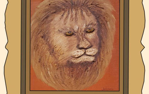 "A majestic lion, with a yellowish gaze and fierce expression stands out from the orange background. The whiskers, only a faint line against his prominent and golden mane, give the viewer more texture and emphasize the warm colors the artist used to create the piece. A shadow on the right side of the lion's face give more depth and create a more realistic image.  ""Donated by Chuck Forbush"" ARIANNA IAVARONE / SAGAMORE STAFF"