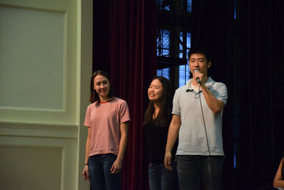 "Seniors Alex Xu, Ivy Yu and junior Elena Stotts-Lee presented their film, entitled ""The Asian-American Experience at BHS,"" which was made for their Social Justice action project. It touched on people's opinions on the lack of Asians in racial conversations and struggles with stereotypes."