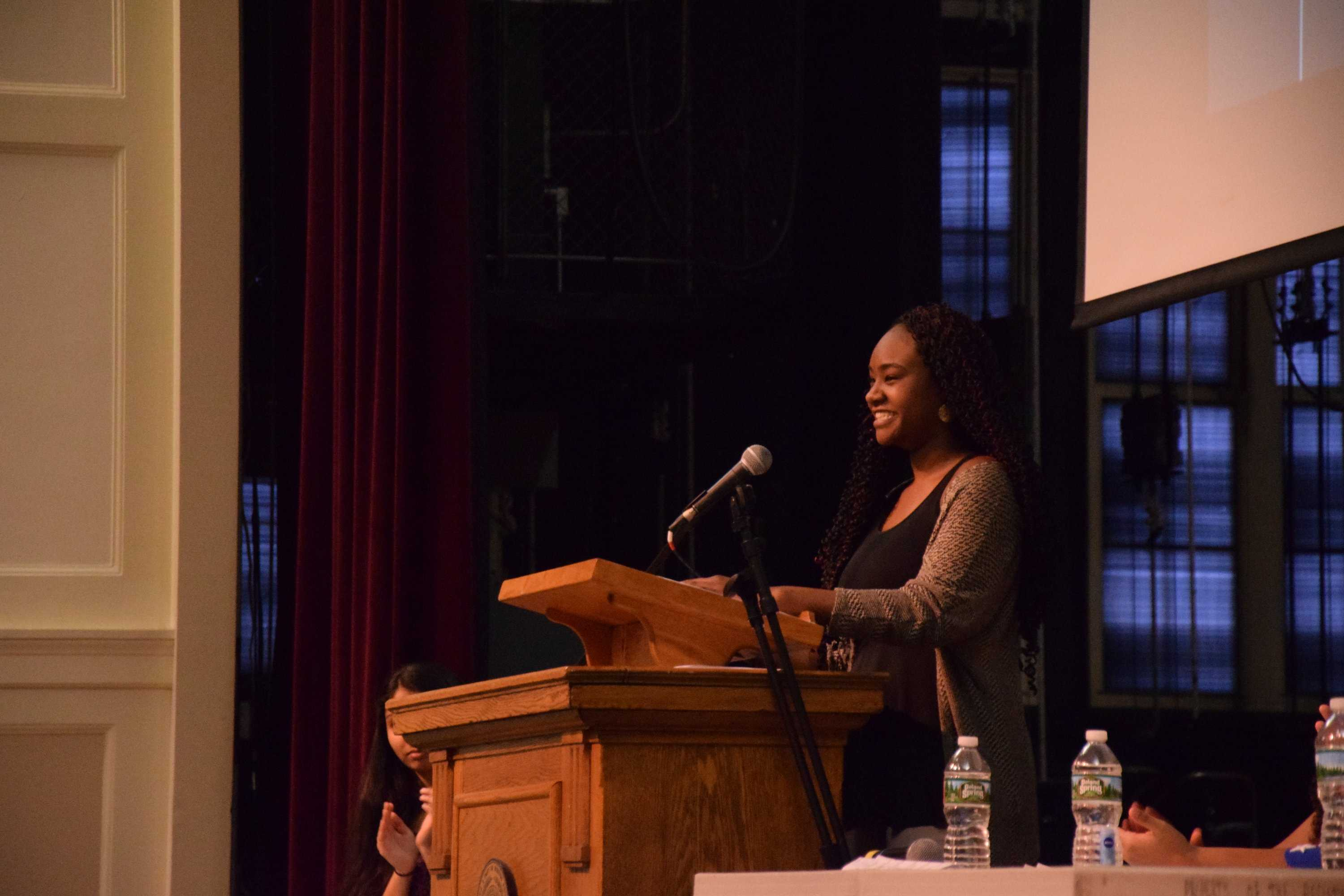 Junior Ndanu Mutisya, a Kenyan-American, recited a list of her pet peeves about race, ranging from people automatically consulting her on racial issues to being the only student of color in her Advanced Placement U.S. History class. Mutisya was one of many speakers at the assembly.