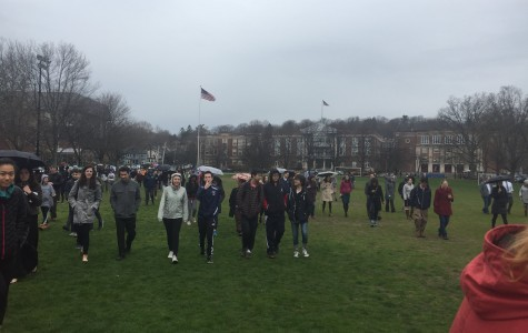 Students evacuated onto Tappan Field following a bomb threat called into the school.