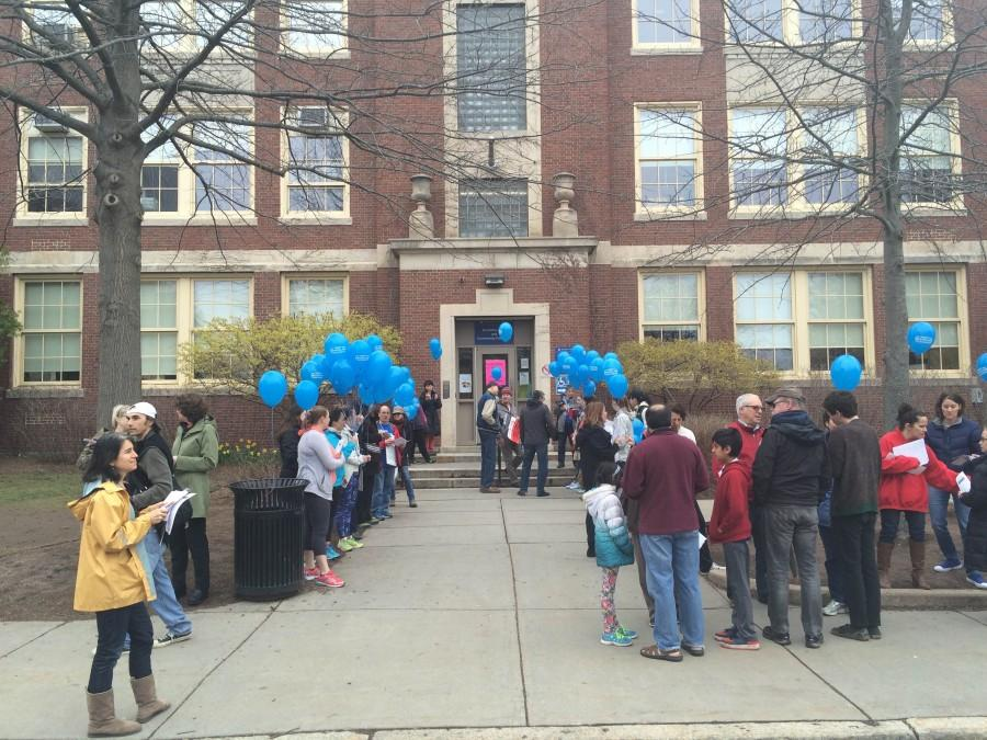 BEU members gather in front of the high school during the Rotary Club's Annual Pancake Breakfast. Leon Yang / Sagamore Staff