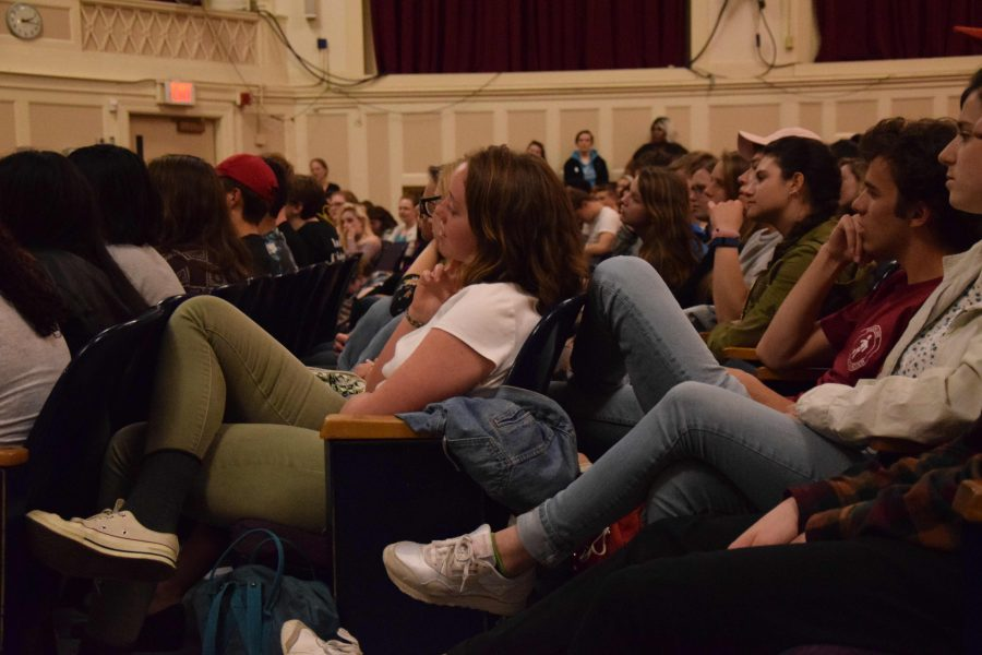 "The ""Telling our Stories"" assembly featured eight speakers recounting their experiences of being queer in front a packed Roberts-Dubbs Auditorium."