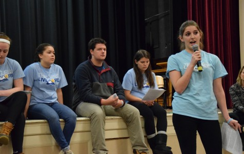 Harvard sophomore Emmie Atwood speaks about the loss of her friend Merritt Levitan and the value of minimizing technology use at an A-block assembly.