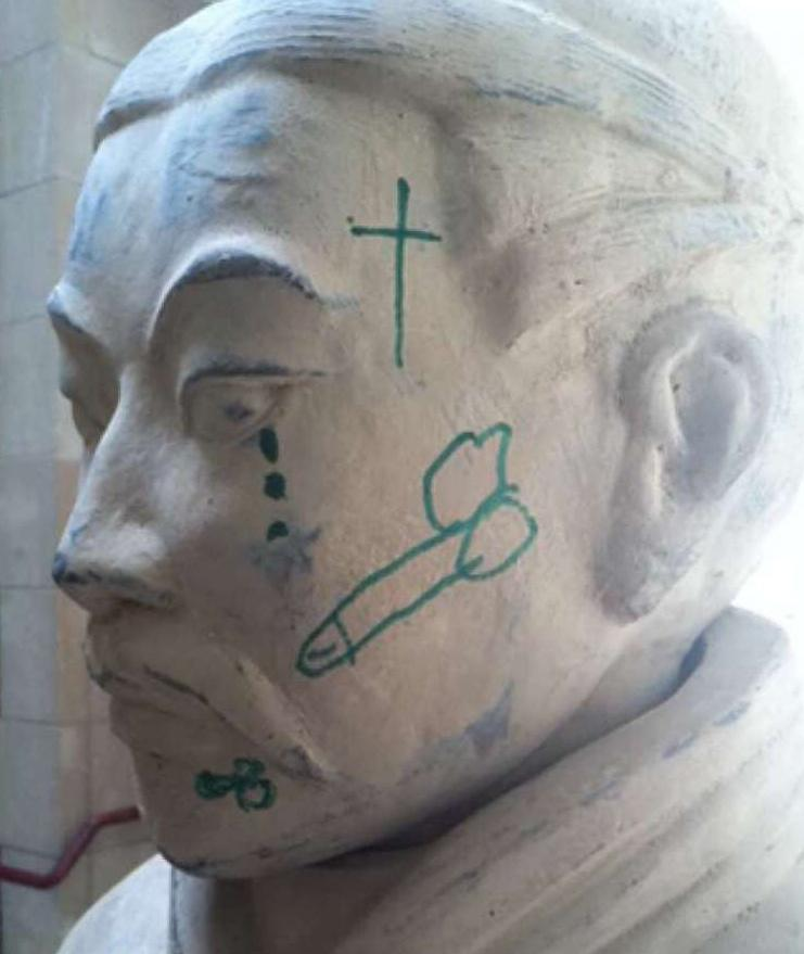 Explicit graffiti was drawn on the face of a Terracotta warrior on April 28.