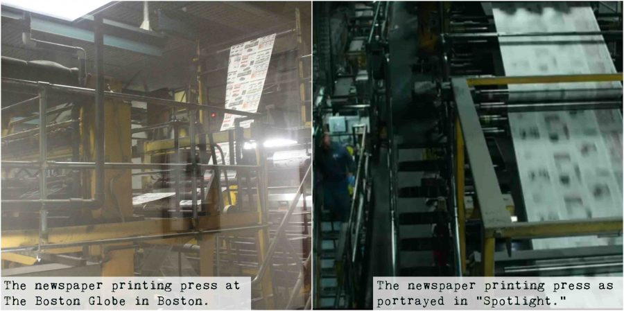 "Hot off the press! On the left, the newspaper printing press for The Boston Globe, located in the city, is pictured. On the right, an aerial of the ""Spotlight"" printing press is pictured."