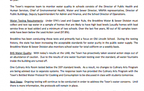 This email was sent out by Alan Balsam June 1 regarding the water testing being conducted in the Town.