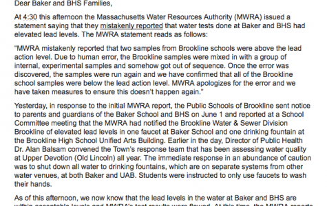 An email sent by interim superintendent Jospeh J. Connelly apologized to high and Baker school parents after lead reports had been mistaken. All water in the the schools has been tested and is below the lead action level.
