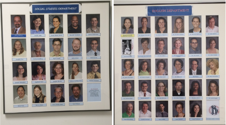 The photos of the English (right) and social studies (left) department teachers are displayed outside the department offices.