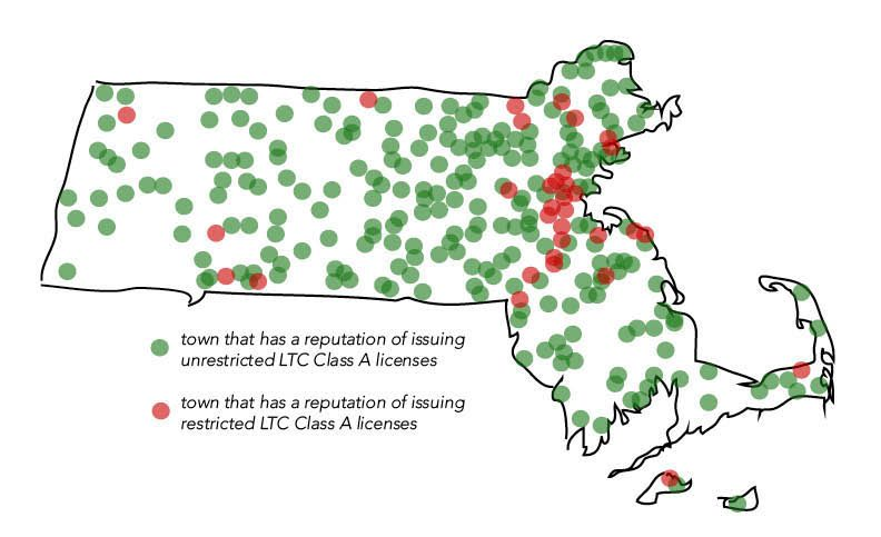 Mass Firearms rates Massachusetts towns by how difficult it is to obtain and unrestricted LTC. Brookline is a red town, meaning it is more difficult. Graphic by Sofia Tong and Raven Bogues.