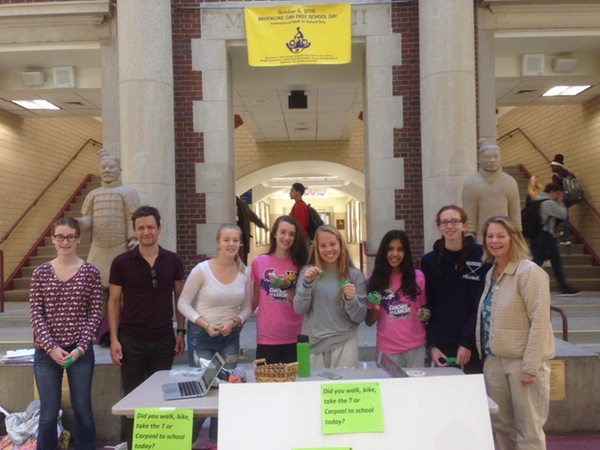 Members of the Environmental Action Club  hand out bracelets for Car Free Day. The event took place on Wednesday, Oct. 5 and was intended to raise awareness for environmental issues and reduce the schools carbon footprint.