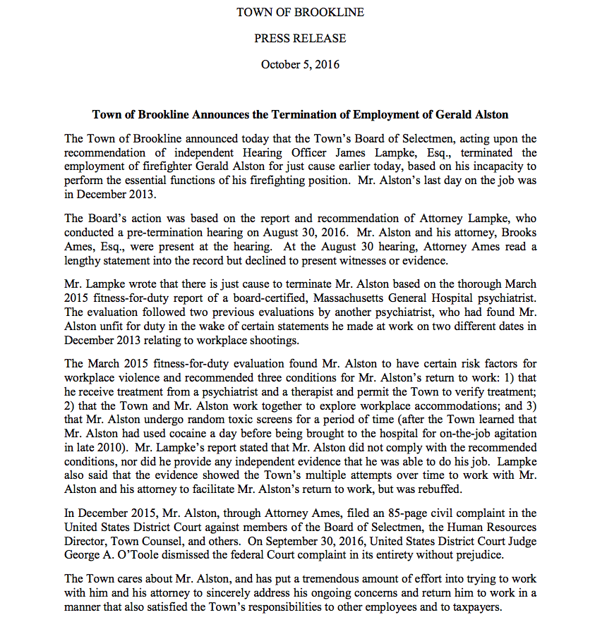 A press release issued by the Town of Brookline after the firing of Gerald Alston.